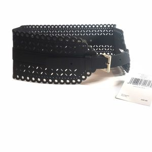 NWT Kate Spade Black Perforated Corset Belt M